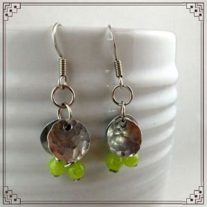 Small Hammered Green Jade Earrings