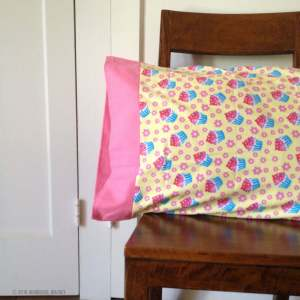 Cupcake pillowcase in yellow and pink