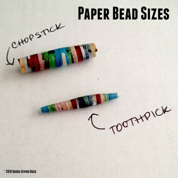 Different sized paper beads