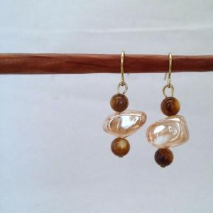 Tiger's eye and orange glass earrings