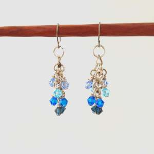 Small blue crystal dangle earrings