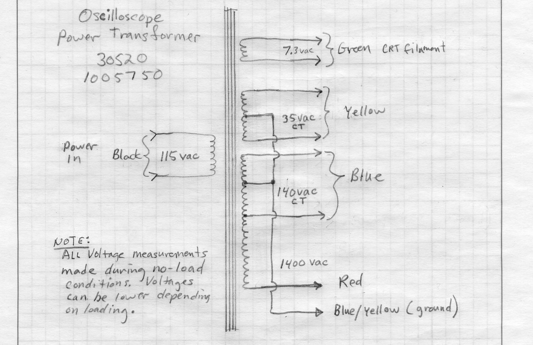 Oscilloscope Power Transformer V 140vct 35vct 7 3v