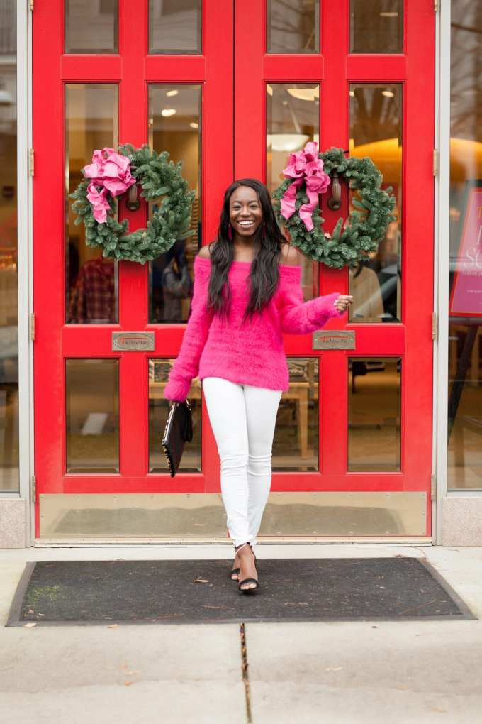 Hi! I'm Tomi. I'm a southern fashion and lifestyle blogger who loves color. Check out this fuzzy, pink sweater from the Loft! It's super soft and can be worn standard and off the shoulder. Check out the blog post to shop! GoodTomiCha.com