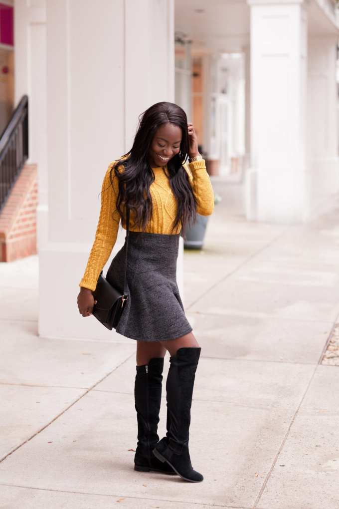 Southern Fashion and Lifestyle Blogger, GoodTomiCha, shares preppy style options for the winter. Winter fashion Winter Style OTK boots Franco Sarto Loft Cable knit sweater Black Fashion Blogger