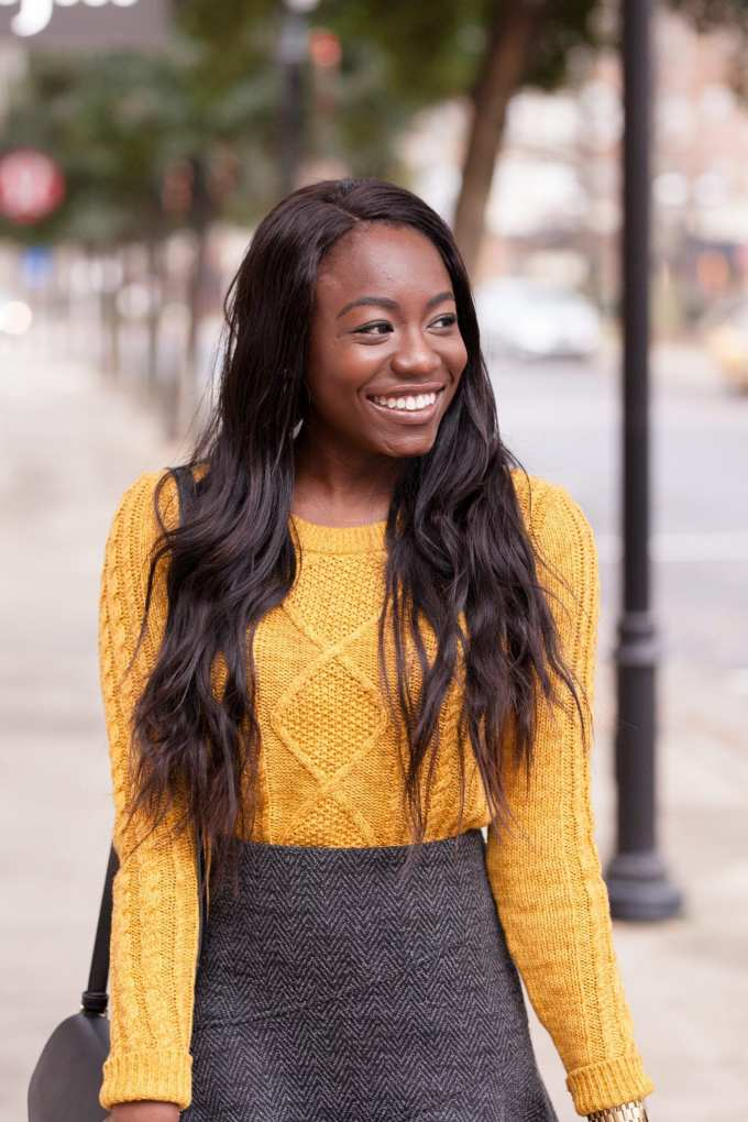 Black Fashion Blogger, GoodTomiCha, shares her southern fashion and lifestyle advice on the blog! Shop this outfit with LiketoKnow.it and find more style inspiration on GoodTomiCha. Cable knit sweater. Herringbone skirt. Otk boots. Southern Fashion Blogger.