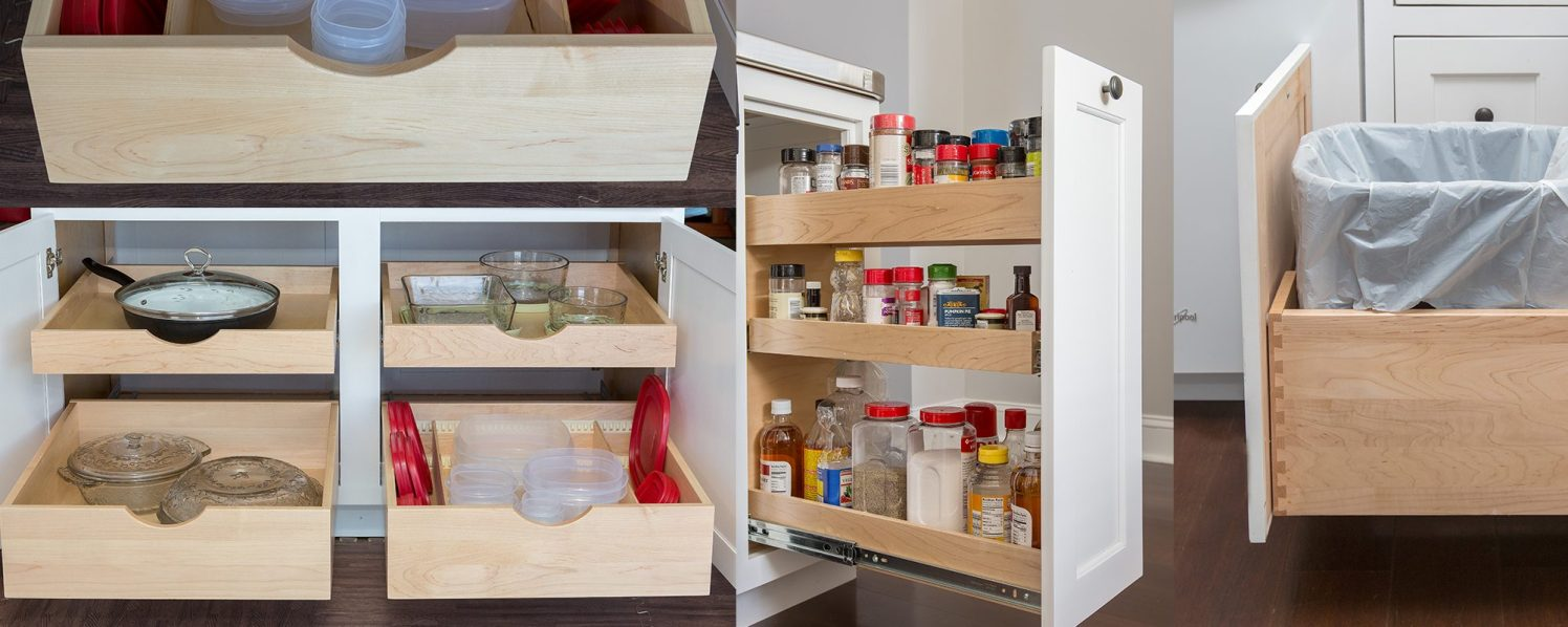 Glide-out shelves and drawers help keep your kitchen organized!