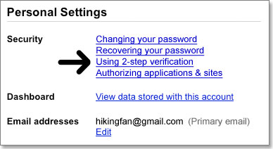 ManageAccount settings page