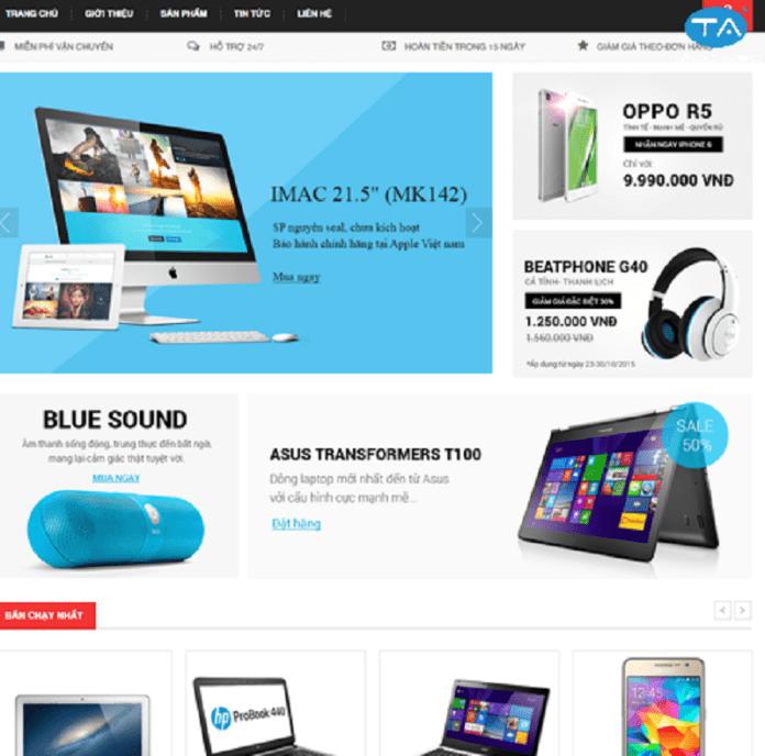 Dịch vụ thiết kế website bán laptop, máy tính chuyên nghiệp của Thuận An