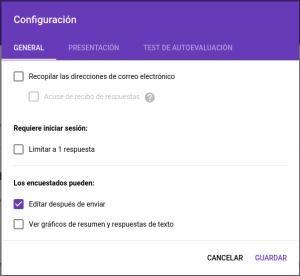 Editar respuestas en formularios de Google