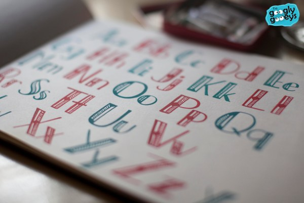 ABCs of Hand Lettering Blue & Red Page