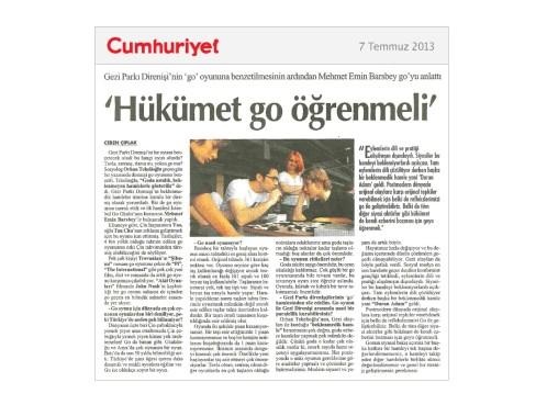 Cumhuriyet Gazetesi: Hükümet Go Öğrenmeli