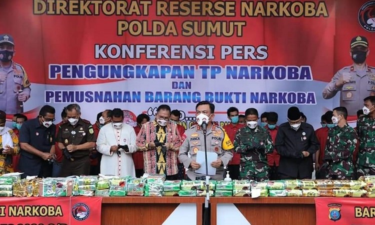 Polda Sumut Musnahkan Barang Bukti Narkoba Hasil Pengungkapan Bulan Desember 2020 – Februari 2021