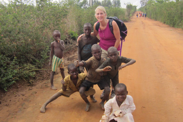 Kim Hotzon volunteering in Uganda with DWC