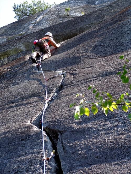 Crack climbing at Squamish