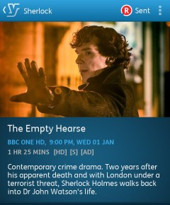 Sherlock: The Empty Hearse. Series 3, episode 1 (YouView app screenshot)