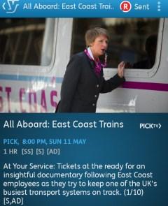 All Aboard: East Coast Trains (YouView app screenshot)