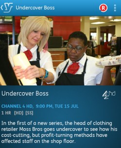 Undercover Boss : 15-07-2014 (YouView app screenshot)