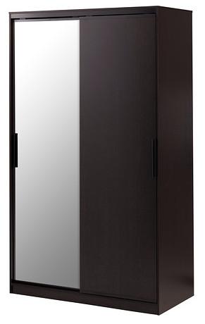 MORVIK Wardrobe, black-brown, mirror glass