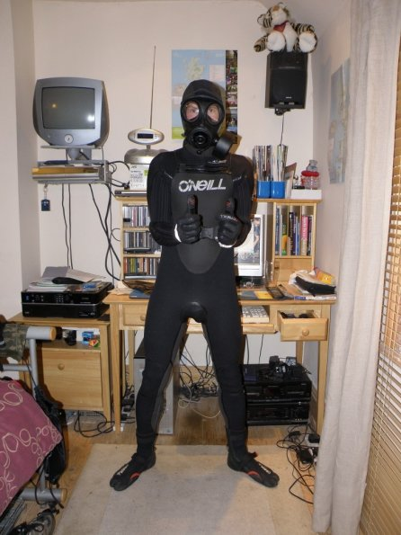 Wetsuit Gas Mask And Chastity Wetsuitlads