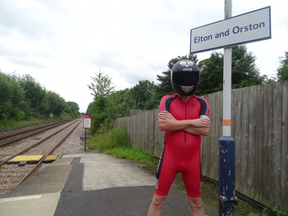 Wearing my back helmet at Elton and Orston railway station