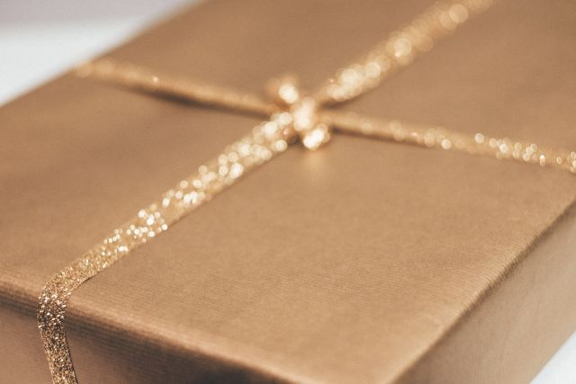 gift with glitter ribbon