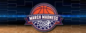 March Madness basketball with bracket in background