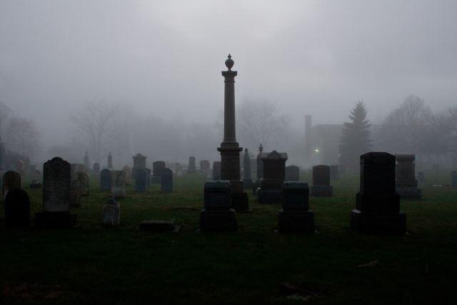 graveyard with gravestones