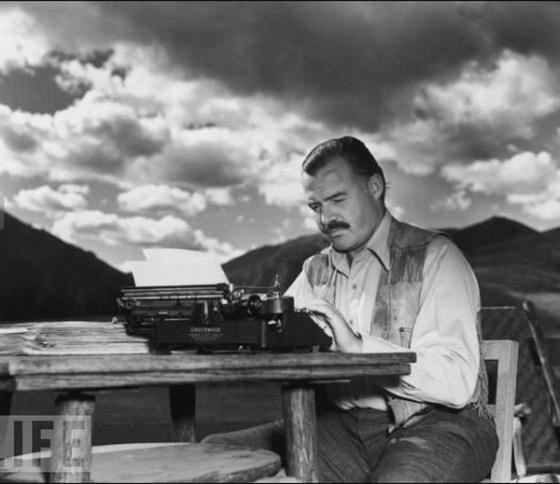 Ernest Hemingway, in a dramatic pose...