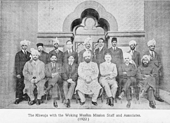 Pickthall is third from the left in the front row, seated next to Khwaja Kamal-ud-Din.  Click the image to see the source.