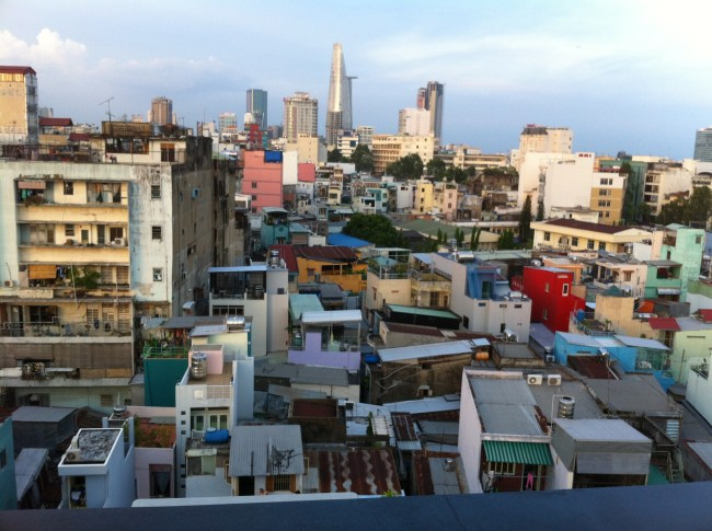 A view of Saigon, er, Ho Chi Minh City, from the highest point in the grungy backpacker district. No, we're not staying there now.