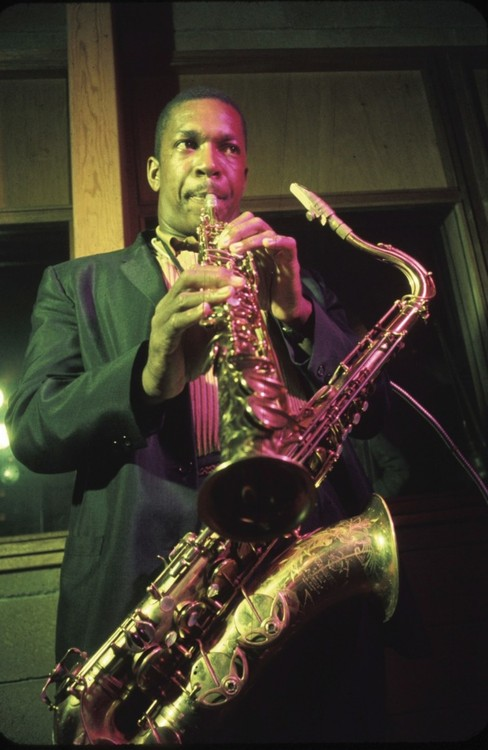 Coltrane, with both his horns in hand.
