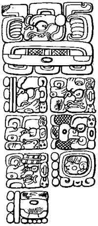 """""""East side of stela C, Quirigua"""" by Maudslay - Cyrus Thomas (1904) Mayan calendar Systems II. Licensed under Public domain via Wikimedia Commons. Click for source."""
