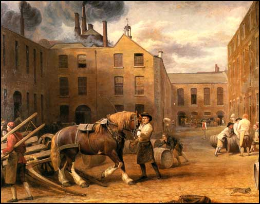 """A painted engraving of Whitbread Brewery in Chiswell Street London in 1792. It is also titled ""A View from the East-End of the Brewery Chiswell Street, The famous Whitbread Brewery. A carthorse is being backed into a dray"". The painter is listed as G.Garrard of No. 43 Little Britain and the engraver as W.Ward Warren Place, Kentish Town."" CLick for source."