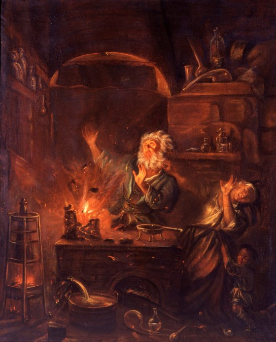 The Explosion in the Alchemist's Laboratory by Justus Gustav van Bentum (Leiden 1670–1727) Holland, 17th or 18th century