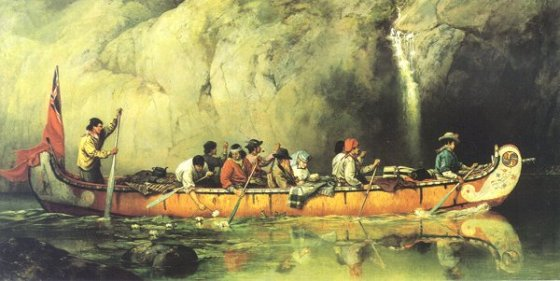 """""""Quetico Superior Route, Passing a Waterfall"""" by Frances Anne Hopkins. Click to see source page."""