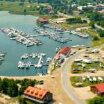 Arial view of Gore Bay harbour and town.