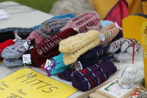 Hand-knit mittens in Gore Bay