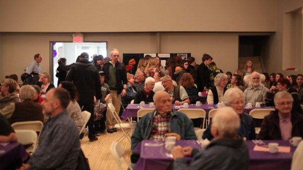 Large group of people in Gore Bay Community Hall.