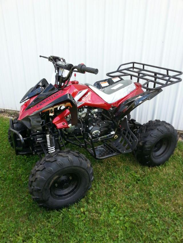 125cc Youth Sport Utility Quad Big Wheel Red ATV (Front View)
