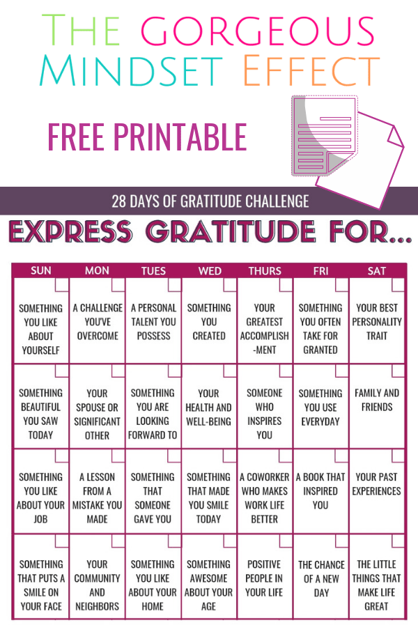 Free Printable Gratitude Challenge