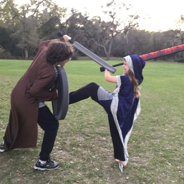 larp weapons with printed fabric covers