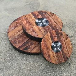 woodgrain with metal boss custom printed shield cover