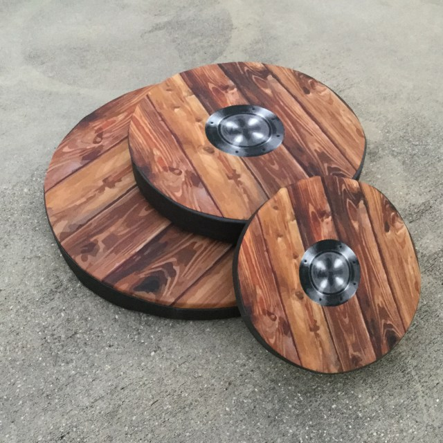 woodgrain with metal boss custom printed shield cover