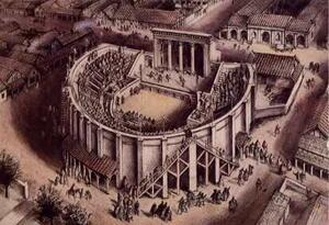 Artists Impression of the Roman Theatre of Verulamium circa AD 180, by Alan Sorrell