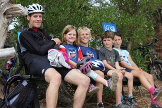 get inspired bike kids Nelson Kaiteriteri New Zealand Great Taste Cycle Trail waiting Mapua Ferry goRide