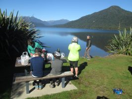 West Coast Wilderness Trail lunch by lake goRide