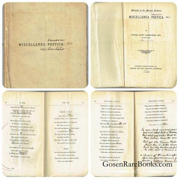 Walter Scott Carmichael MD - Miscellanea Poetica - Edinburgh - 1882