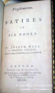 Hall-Joseph-Virgidemiarum-Satires in Six Books-Cover