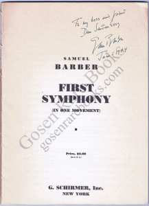Barber - First Symphony - Signed