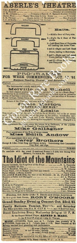 Harry Leslie at Aberle's Theatre - Oct. 17, 1881